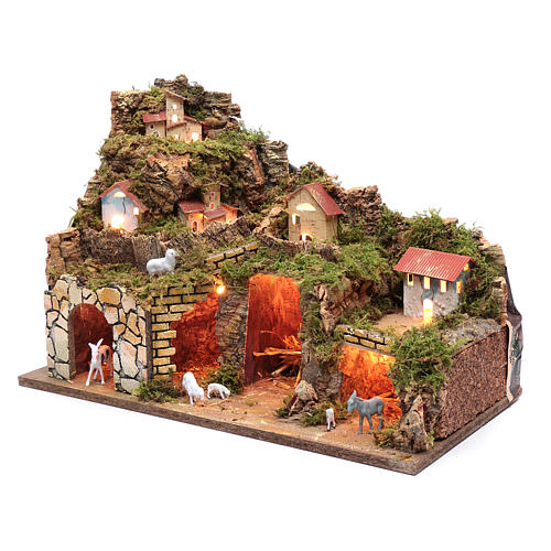 Nativity scene setting houses with lights and sheep 35x50x25 cm 2