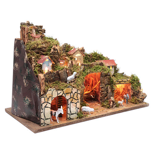 Nativity scene setting houses with lights and sheep 35x50x25 cm 3