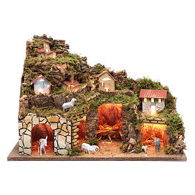 Nativity scene setting houses with lights and sheep 35x50x25 cm s1