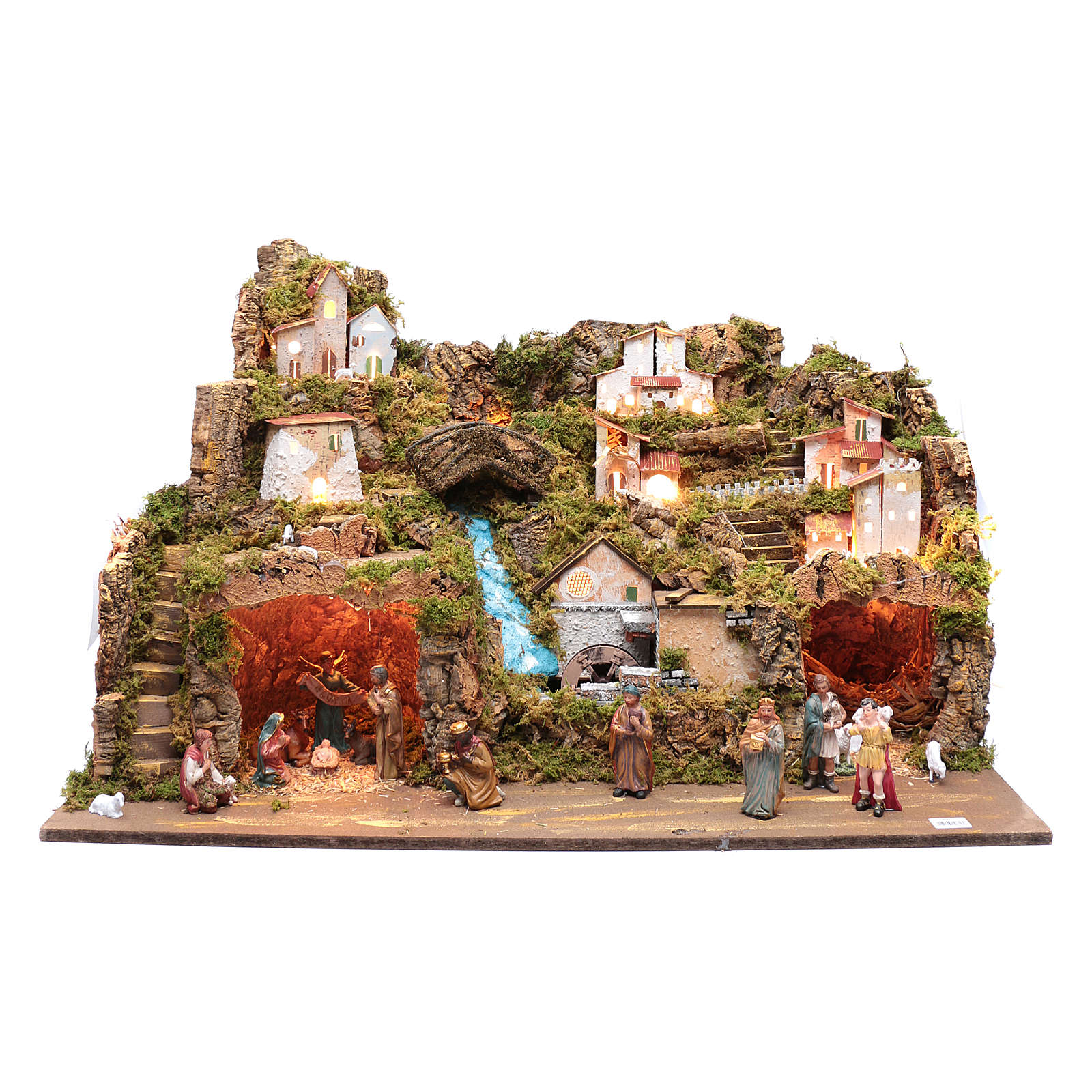 Nativity scene setting 50x80x45 cm with lights and pump 4