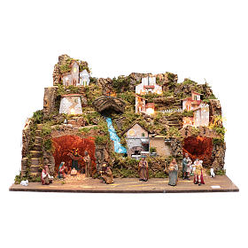 Nativity scene setting 50x80x45 cm with lights and pump s1