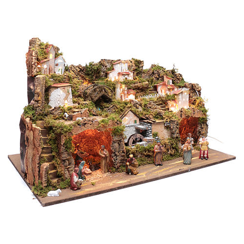 Nativity scene setting 50x80x45 cm with lights and pump 3