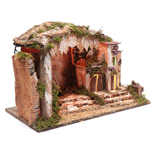 Nativity scene setting 35x50x30 cm with lights, little houses and hut 3
