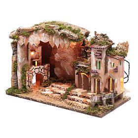 Décor crèche 35x50x30 cm éclairage maison et cabane s2