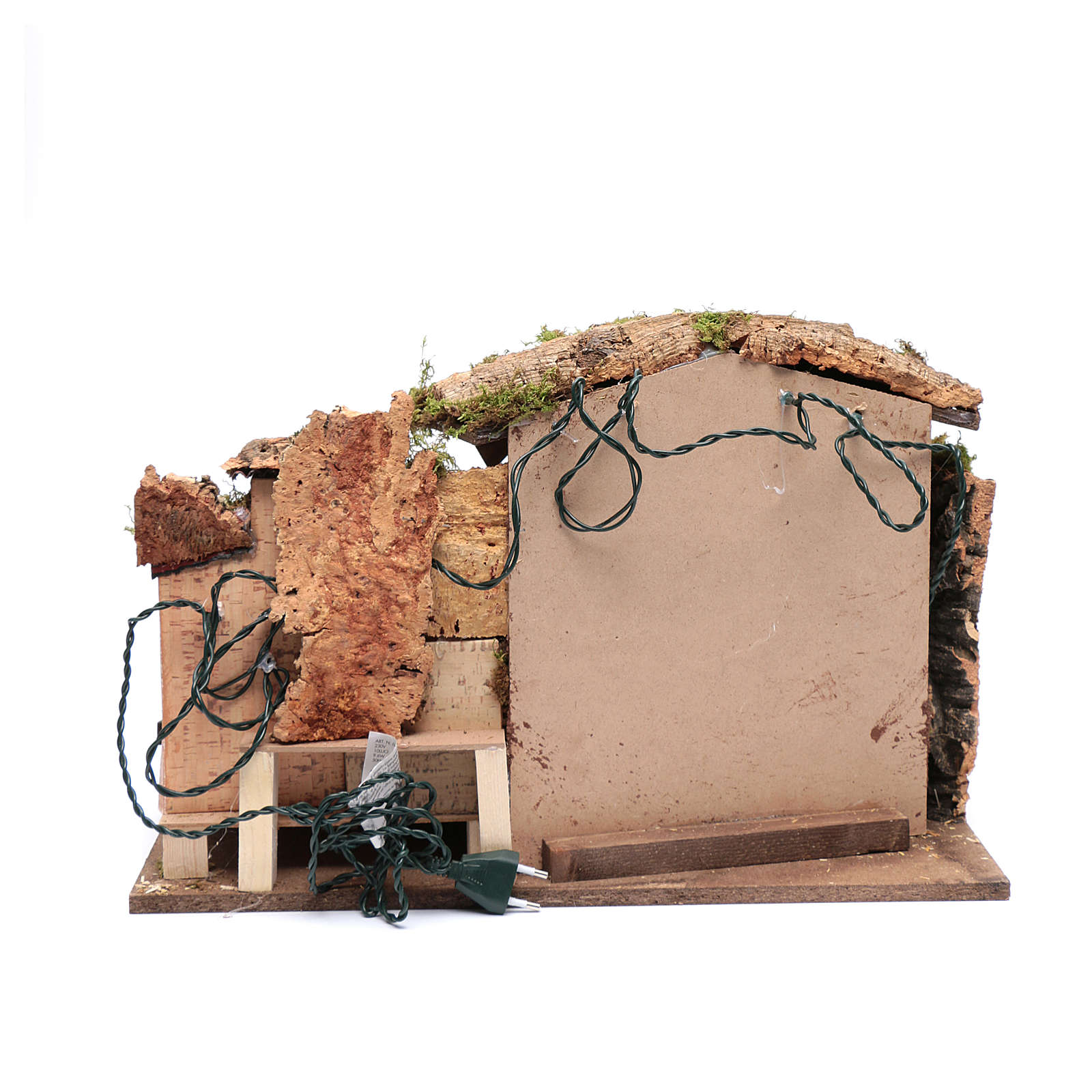 Ambientazione presepe 35x50x30 cm luci casetta e capanna 4