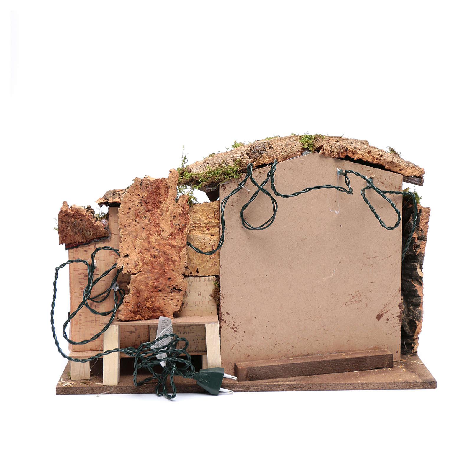 Cenário presépio 35x50x30 cm luzes casinha e cabana 4
