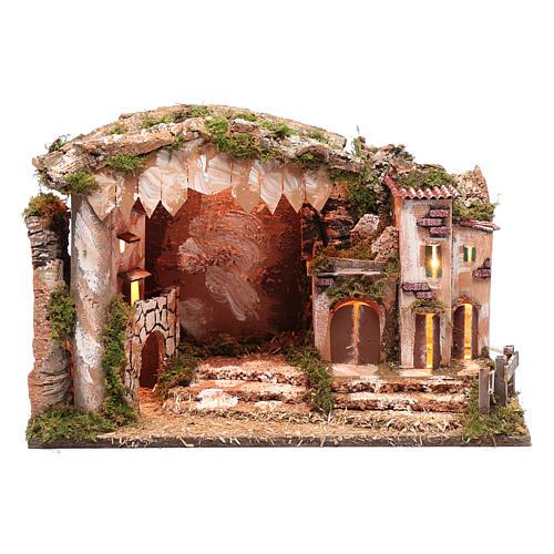 Cenário presépio 35x50x30 cm luzes casinha e cabana 1