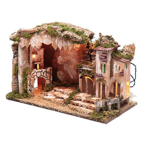 Cenário presépio 35x50x30 cm luzes casinha e cabana 2