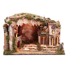 Nativity scene setting 35x50x30 cm with lights, little houses and hut s1