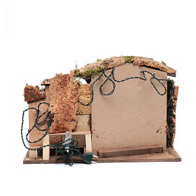 Nativity scene setting 35x50x30 cm with lights, little houses and hut s4
