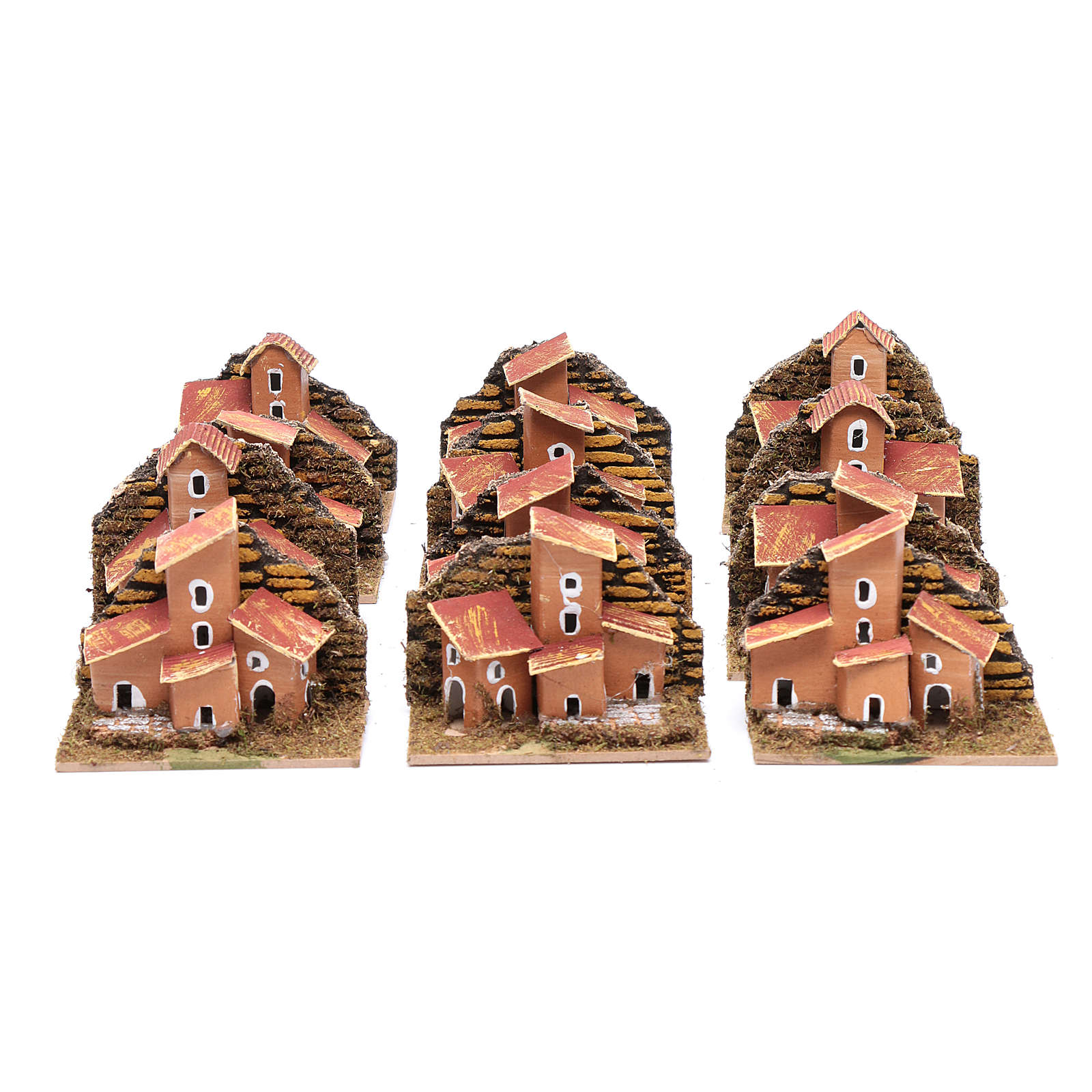 Set of 12 little houses 5x10x5 cm for DIY nativity scene 4