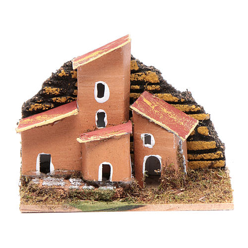 Set of 12 little houses 5x10x5 cm for DIY nativity scene 1