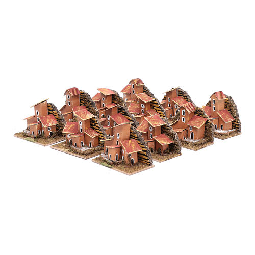 Set of 12 little houses 5x10x5 cm for DIY nativity scene 3