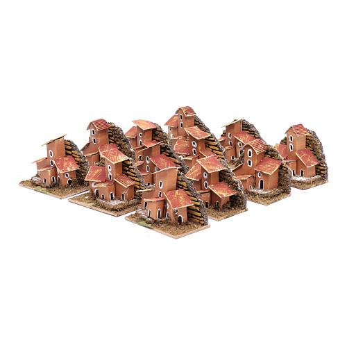 Set of 12 little houses 5x10x5 cm for DIY nativity scene 3