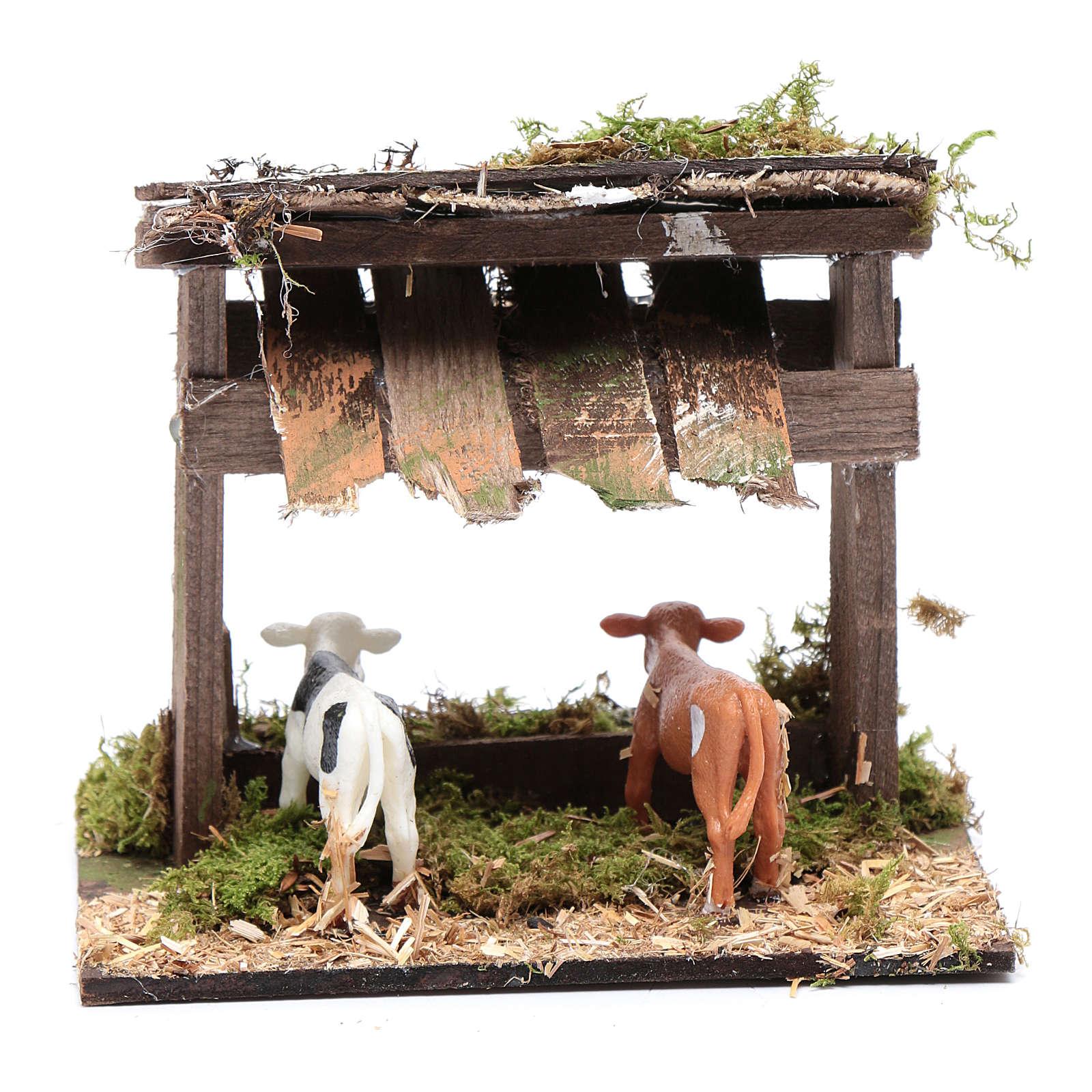 Gehege mit Kühen und Unterstand 10x15x10 cm 4
