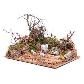 Ambiente paesaggio con pecorelle 10x20x15 cm s2