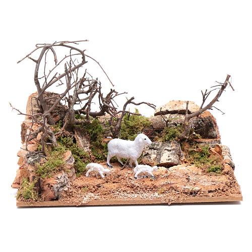 Ambiente paesaggio con pecorelle 10x20x15 cm 1