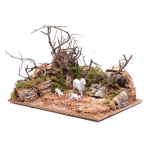 Ambiente paesaggio con pecorelle 10x20x15 cm 2