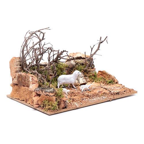 Ambiente paesaggio con pecorelle 10x20x15 cm 3