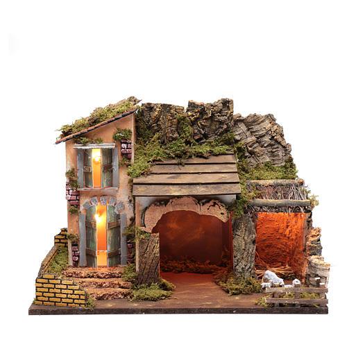 Escenografía casa con portal corral y luces  35x50x25 cm 1