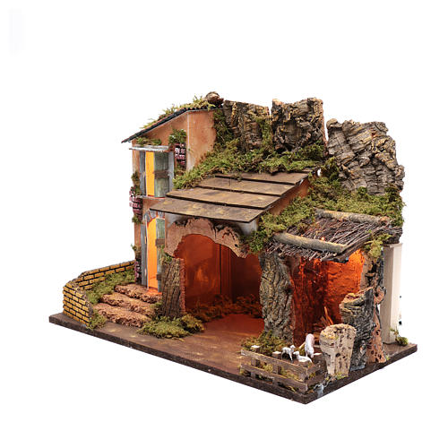 Escenografía casa con portal corral y luces  35x50x25 cm 2