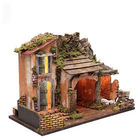 Décor maison avec cabane et enclos 36x50x26 cm s3