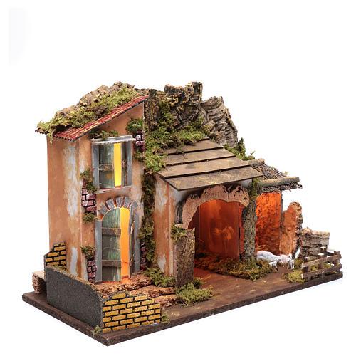 Décor maison avec cabane et enclos 36x50x26 cm 3