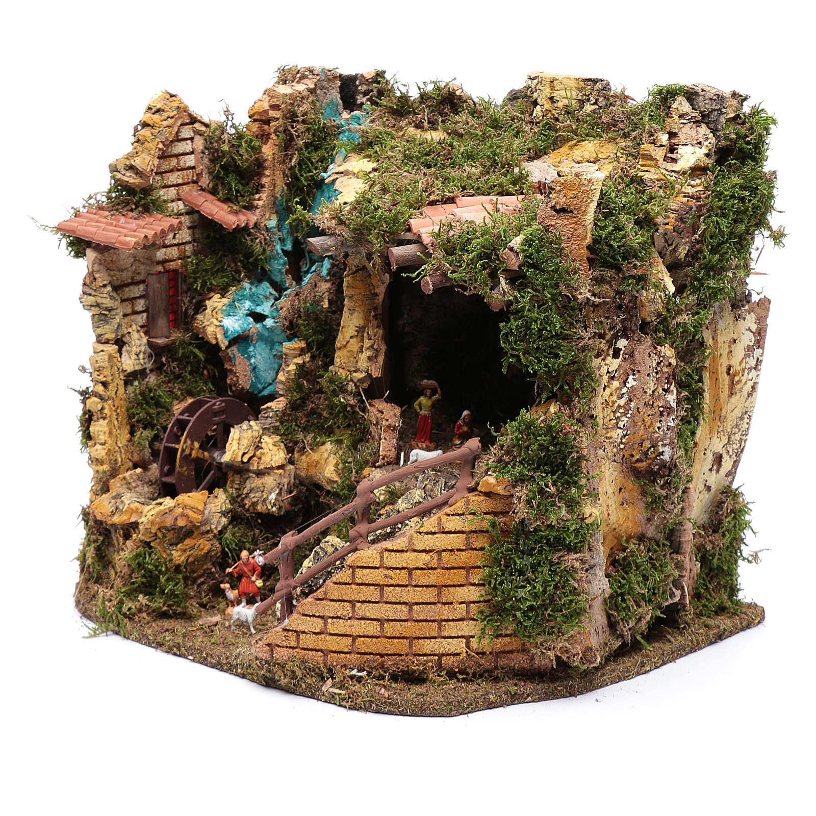 Escenografía Natividad con noria 30x35x25 cm 4