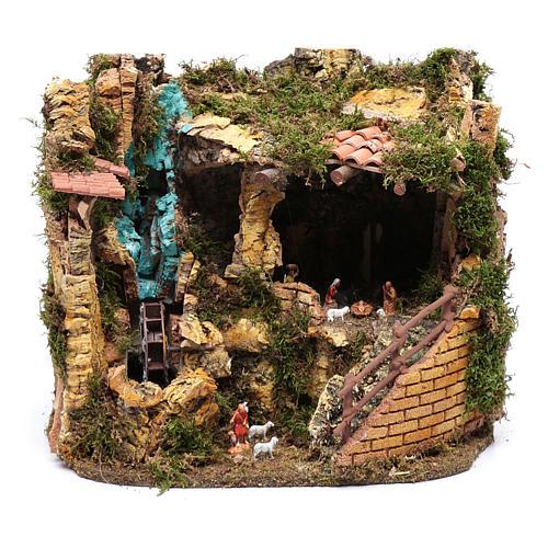 Escenografía Natividad con noria 30x35x25 cm 1