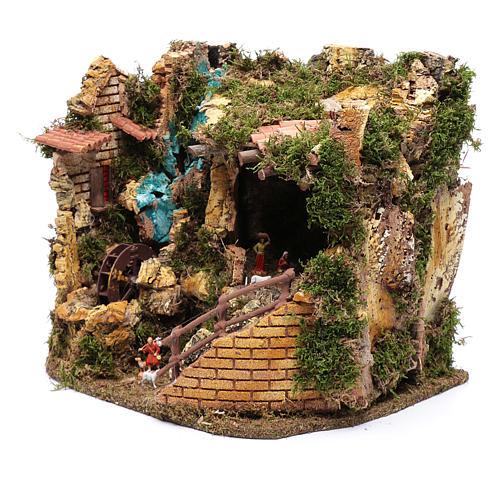 Escenografía Natividad con noria 30x35x25 cm 2