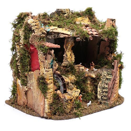 Escenografía Natividad con noria 30x35x25 cm 3