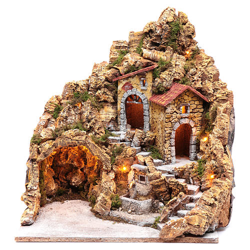 Illuminated Neapolitan nativity scene setting with hut and fountain 45X40X30 cm 1