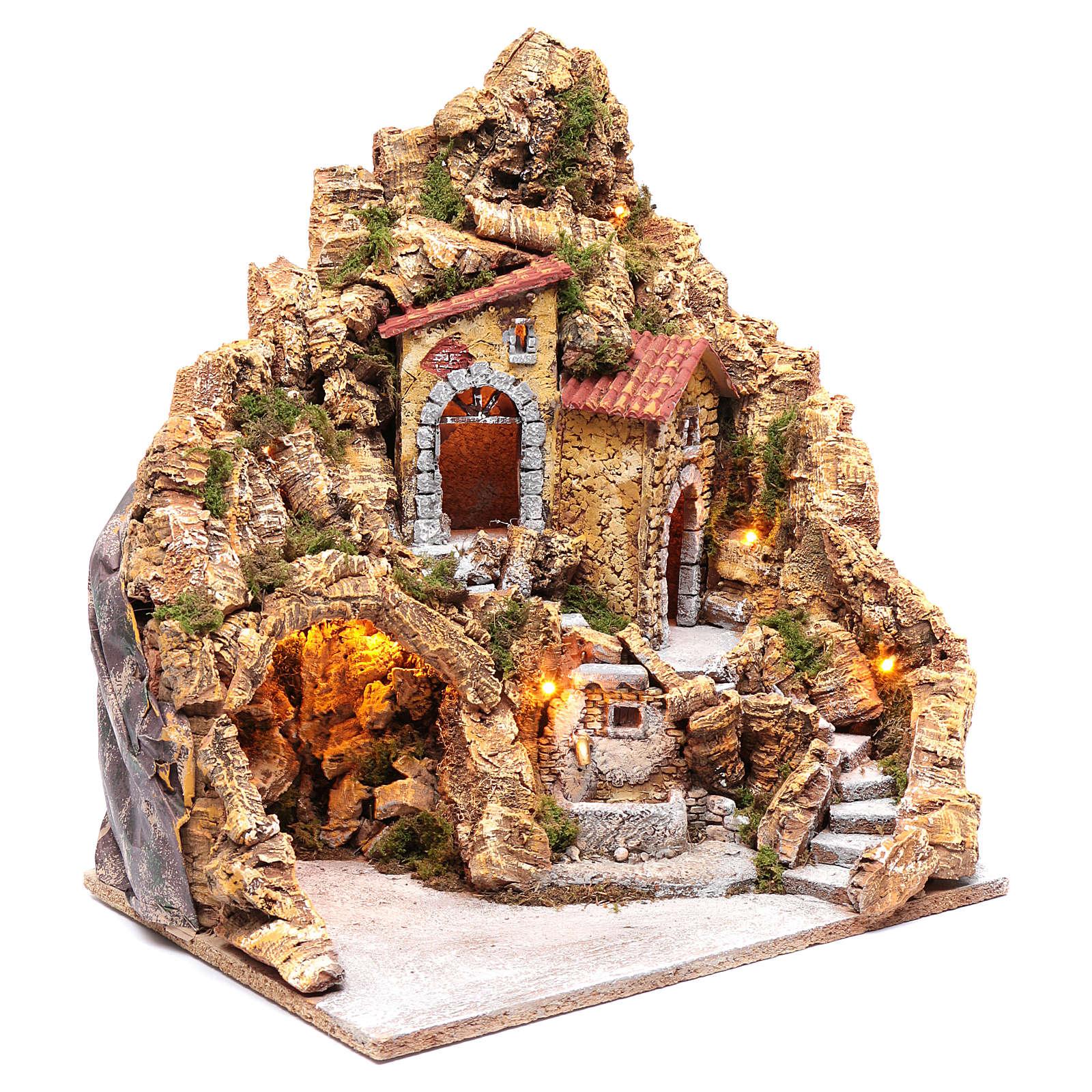 Escenografía pesebre Nápoles iluminada con casas y fuente 45x40x30 cm 4