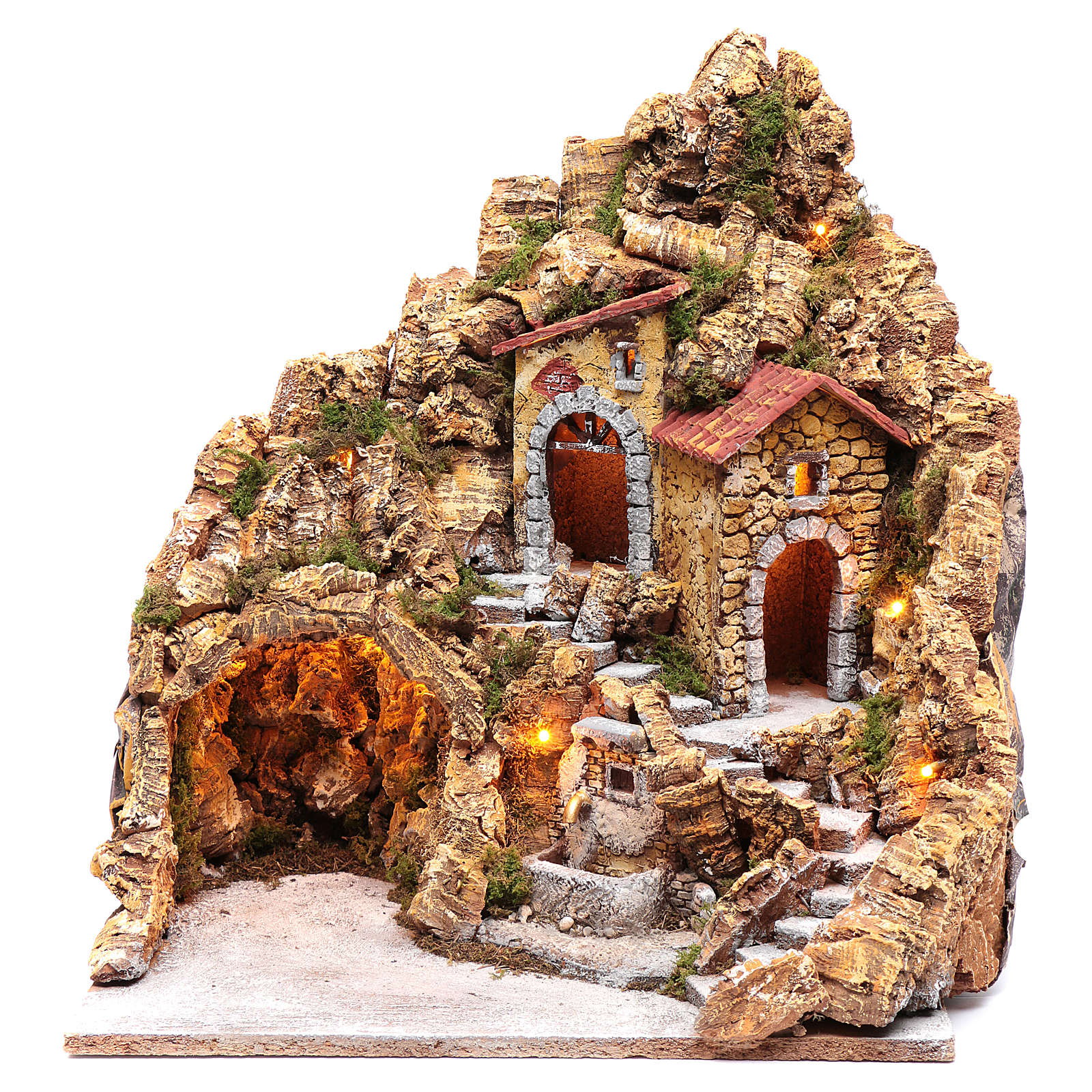 Illuminated Neapolitan nativity scene setting with hut and fountain 45X40X30 cm 4