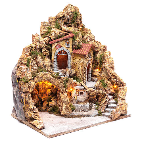 Illuminated Neapolitan nativity scene setting with hut and fountain 45X40X30 cm 3