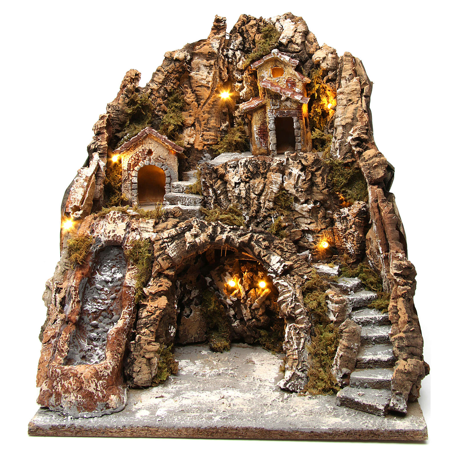 Illuminated Neapolitan nativity scene with hut and waterfall 40X35X30 cm 4
