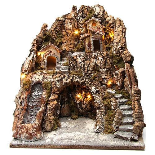 Illuminated Neapolitan nativity scene with hut and waterfall 40X35X30 cm 1