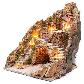 Pesebre napolitano iluminado cascada y casas 40x35x30 s2