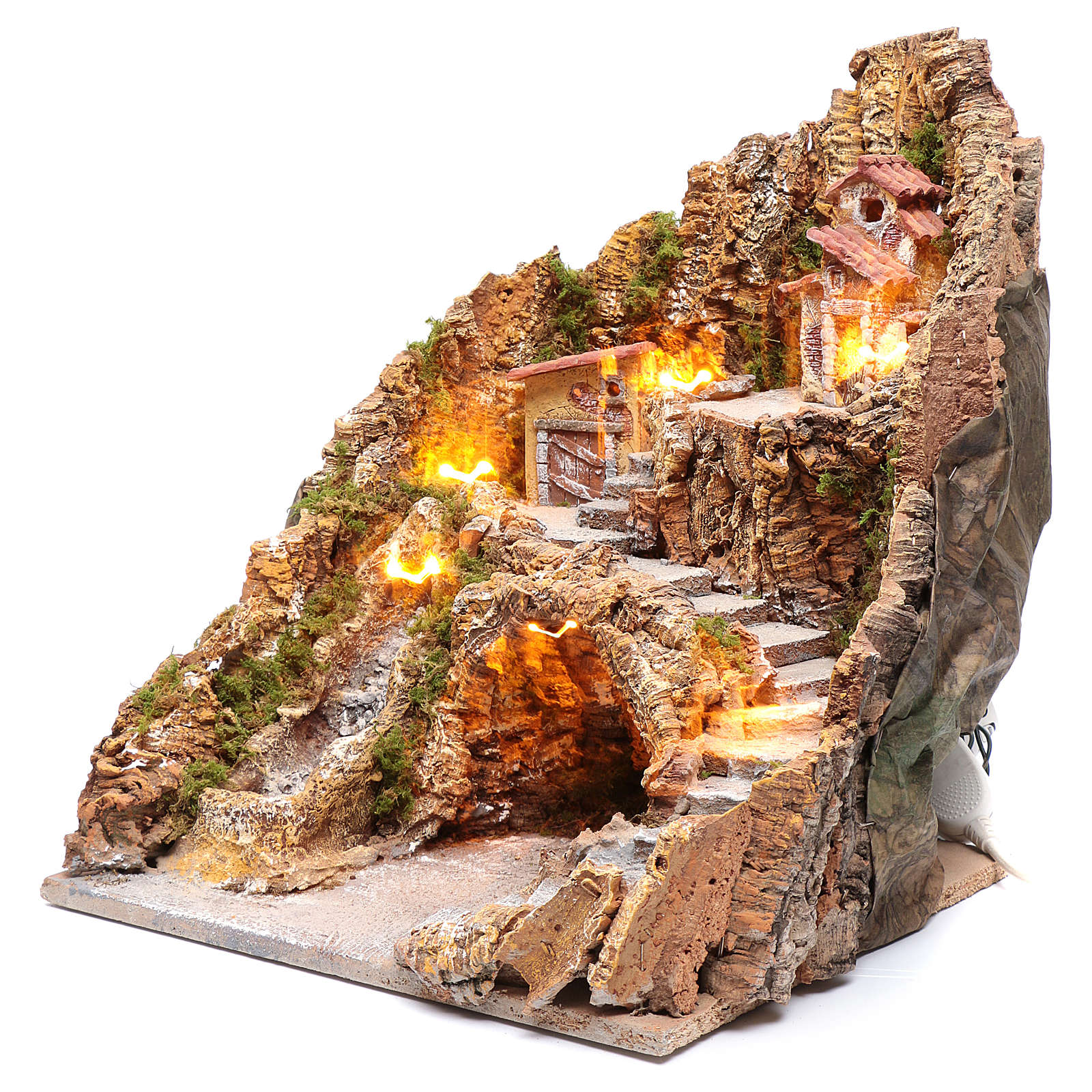 Presepe napoletano illuminato cascata e capanna 40X35X30 4