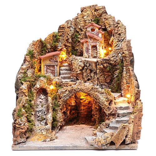 Presepe napoletano illuminato cascata e capanna 40X35X30 1