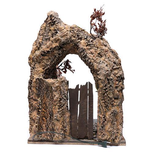 Portone abitazione con arco di corteccia presepe Napoli 71X50X50 4