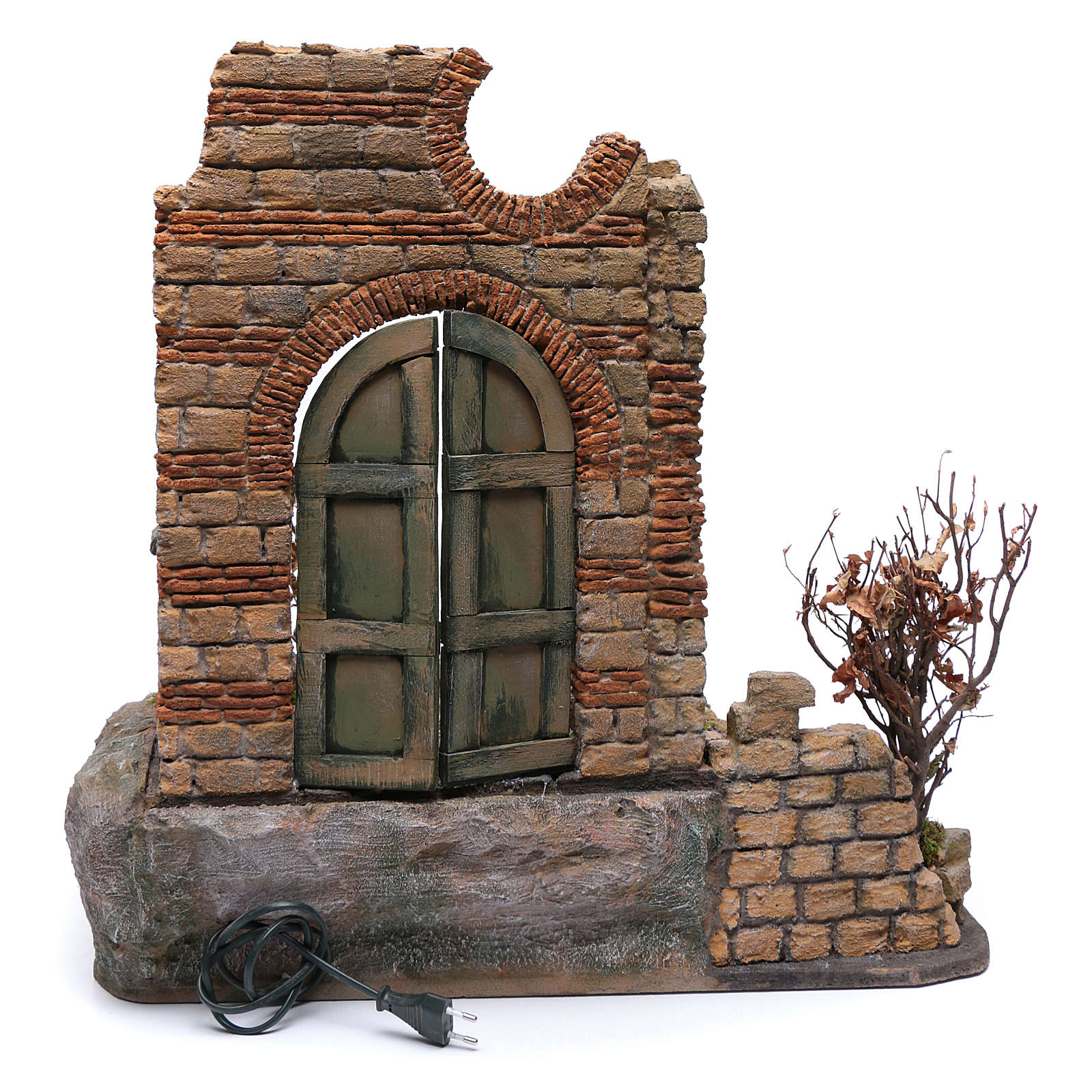 Puerta de madera en ambientación belén Nápoles 60x55x50 4