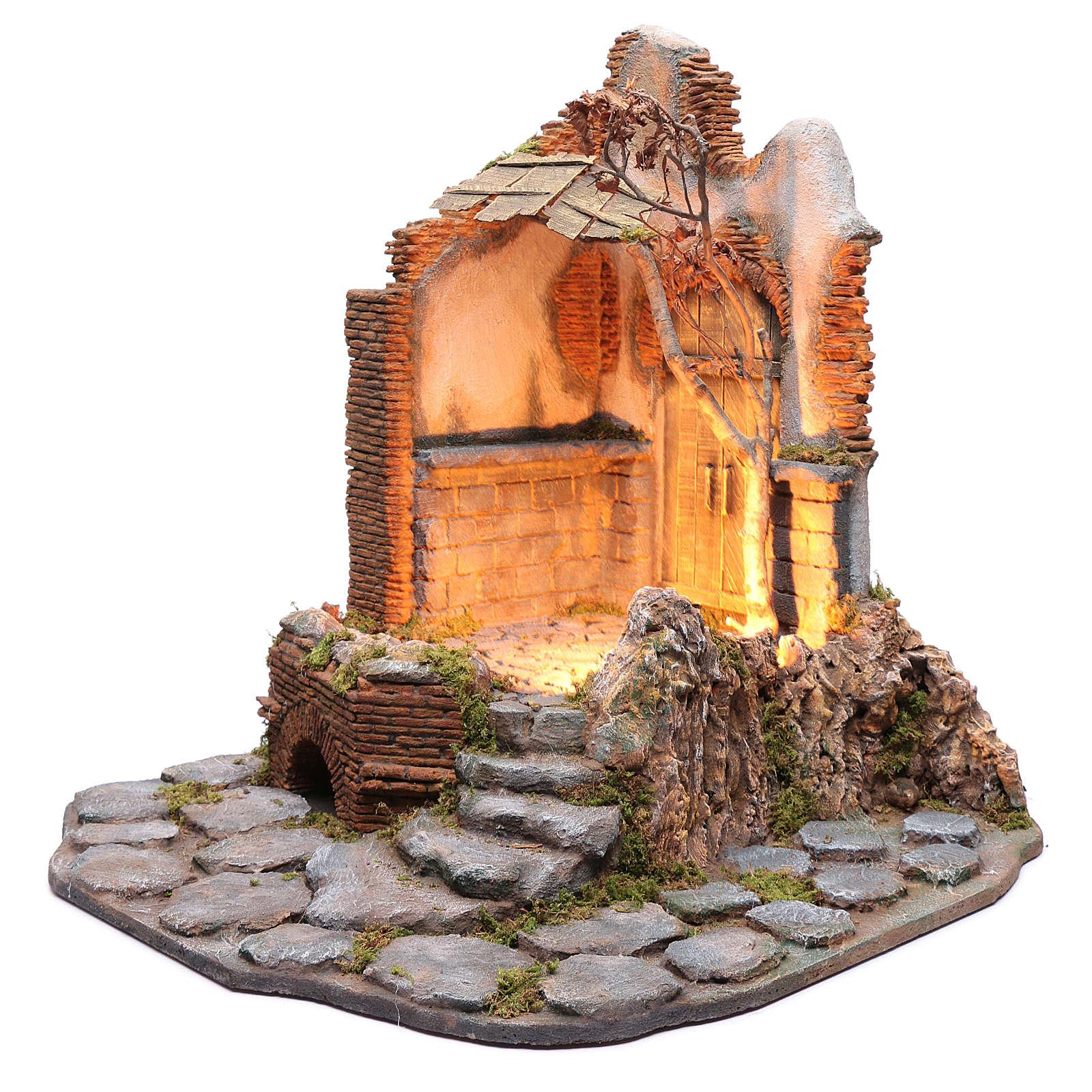 Ambientación con portón y techo de madera pesebre napolitano 65X60X65 4