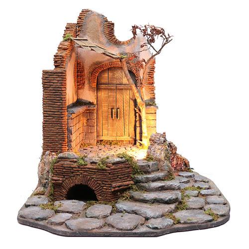 Ambientación con portón y techo de madera pesebre napolitano 65X60X65 1