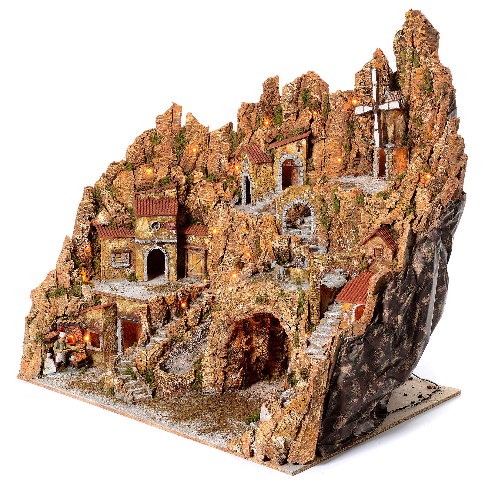 Illuminated Neapolitan nativity scene with mill hut and pizza maker moving  105X95X85 4