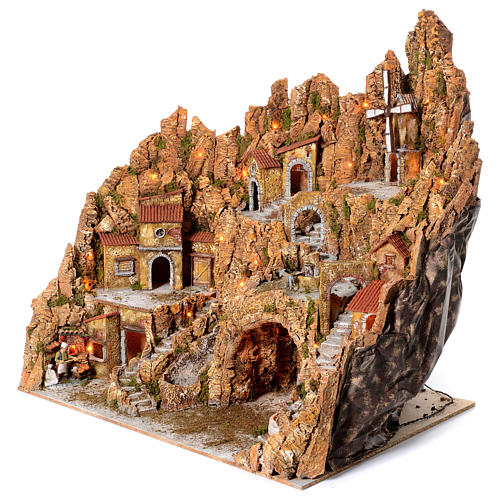 Illuminated Neapolitan nativity scene with mill hut and pizza maker moving  105X95X85 2