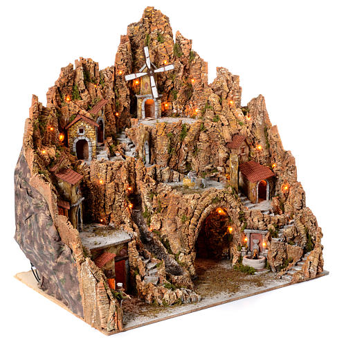 Illuminated Neapolitan nativity scene with mill hut and pizza maker moving  105X95X85 3