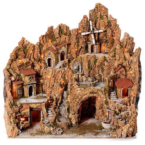 Pueblo Belén Napolitano Iluminado Molino, Gruta, Pizzería 105x95x85 cm 1