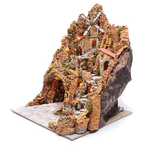 Décor crèche napolitaine moulin et cabane 74x55x66 cm 2