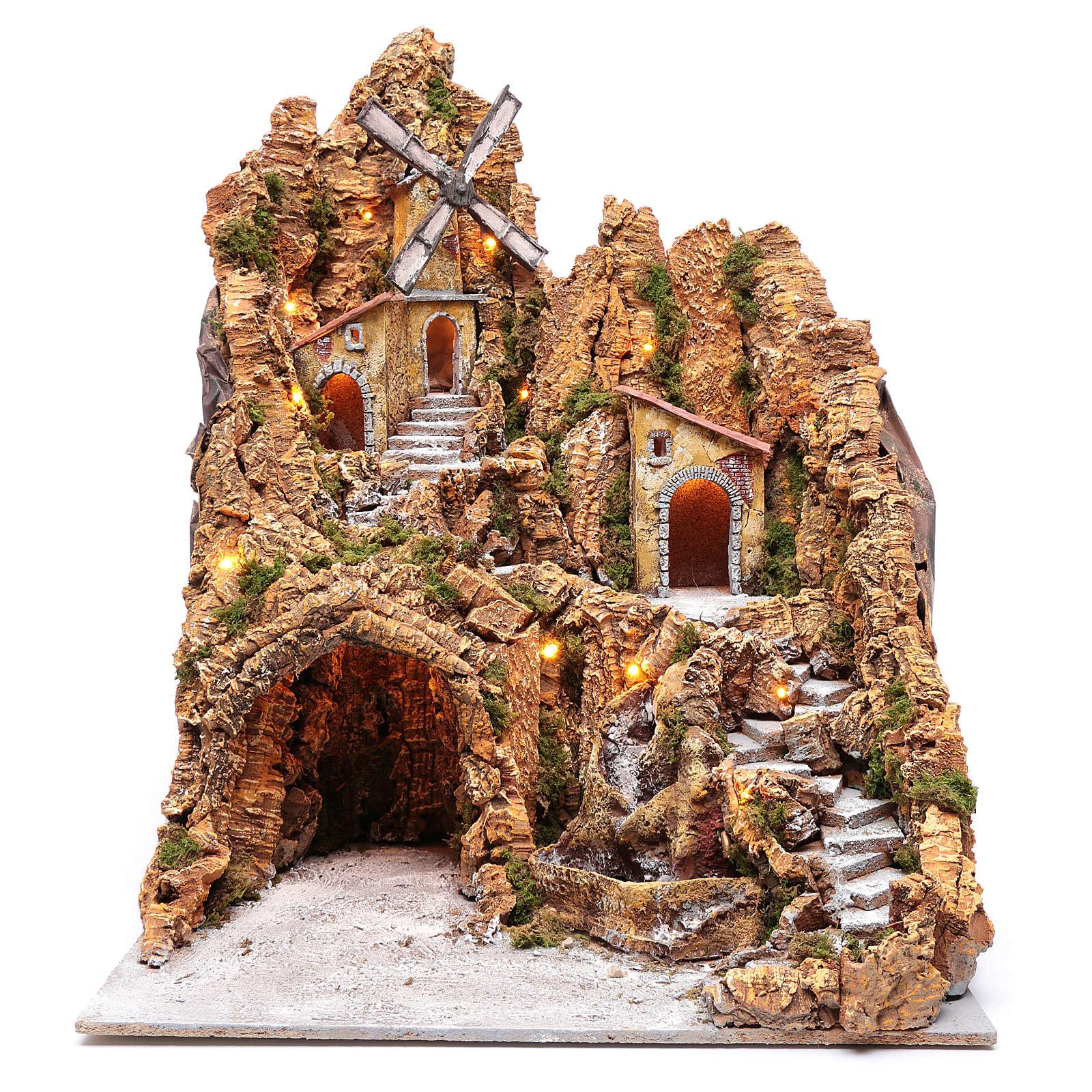 Ambientazione presepe napoletano mulino e capanna 75x55x65 cm 4